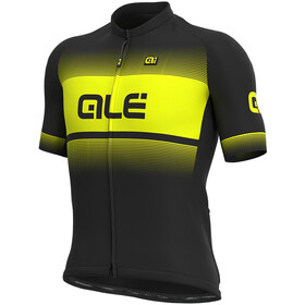 Alé Cycling Solid Blend Maillot Manga Corta Hombre, black/fluo yellow